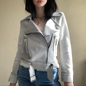 Icy Grey Suede Biker Jacket